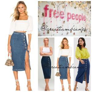 Free People 6 button Denim Midi Skirt